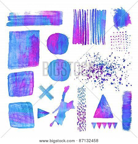 Set of colorfull watercolor design elements.