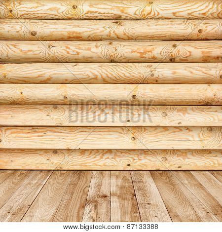 Log Wall Of Yellow Pine And Wooden Floor