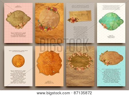 Set of Vintage Labels, Logo, Frames, Floral Patterns and Brochures. Vector Design Templates Collection for Banners, Flyers, Placards and Posters. Retro Backgrounds.