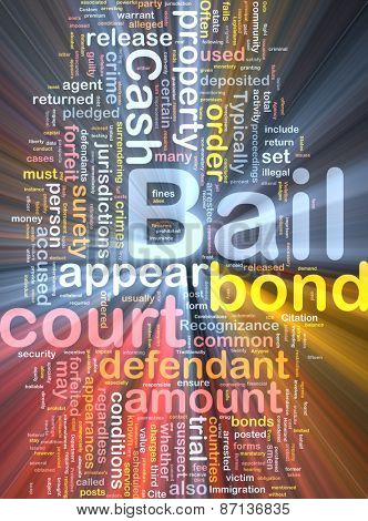 Background text pattern concept wordcloud illustration of bail glowing light