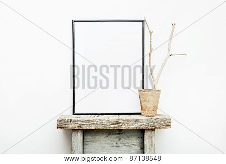 Black Frame With Place For Text. Mock Up.  Hipster Scandinavian Style Room Interior
