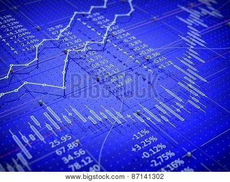 Stock exchange trade chart bar candles concept