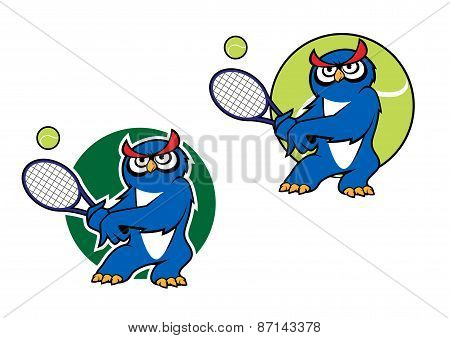 Sporting emblem with owl playing tennis