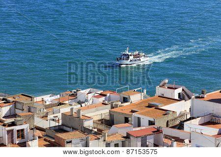 Mediterranean sea and yacht, Peniscola, Valencian Community, Spain