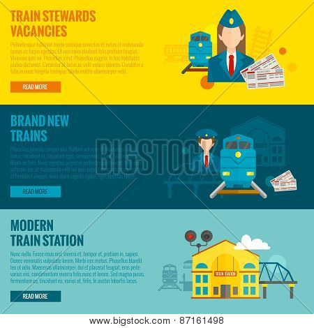 Railway horizontal banner set with train steward vacancies new modern station elements isolated vector illustration poster