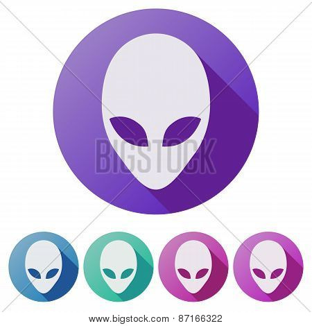 Set Flat icons of Alien head creature from another world.