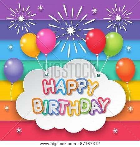Happy birthday paper clouds hanging with balloons on fireworks and rainbow sky background. poster