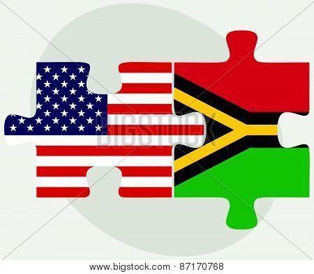 Usa And Vanuatu Flags In Puzzle
