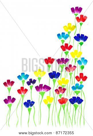 Vector illustration of a set of flower images executed in watercolor.