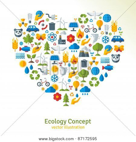 Ecology flat icons arranged in heart. Vector illustration.