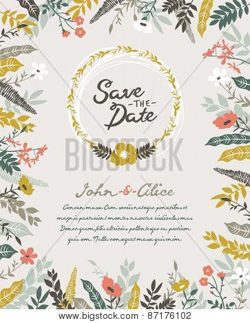 Save the date. Wedding invitation card.