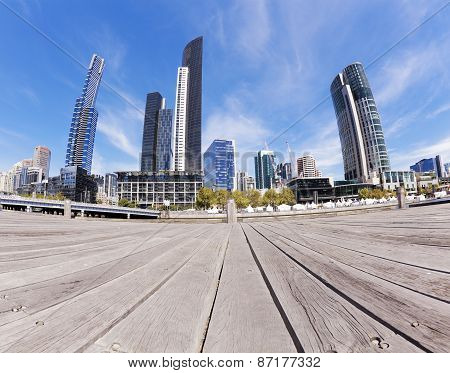 View of Southbank area in Melbourne CBD in the daytime poster
