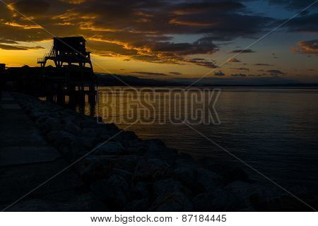 Beautiful Dawn over Adriatic Sea in Rijeka, Croatia, photographed at Spring early morning hours. poster