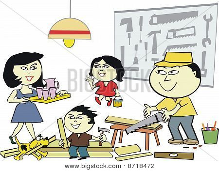 Family home workshop cartoon