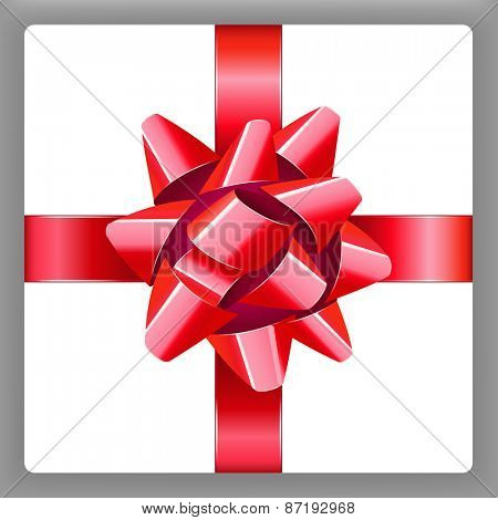Red bow with ribbon vector holiday present 10eps