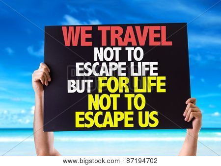 We Travel Not To Escape Life But For Life Not To Escape Us card with beach background