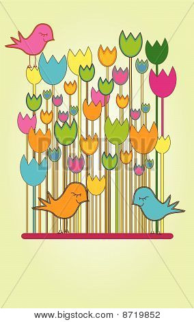 Vertical Card with Tulips and Birds