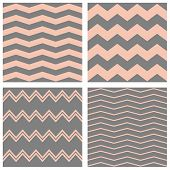 Tile vector pastel pattern set with grey and pink zig zag background for seamless decoration wallpaper poster
