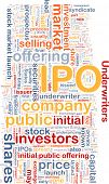 Background text pattern concept wordcloud illustration of IPO initial public offering poster