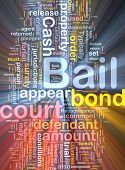 Background text pattern concept wordcloud illustration of bail glowing light poster