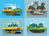 Ecology Concept Vector Icons Set for Environment, Green Energy and Nature Pollution Designs. Flat Style. Renewable Energy, Natural Farm Products, Fresh Air and Drinking Water. poster