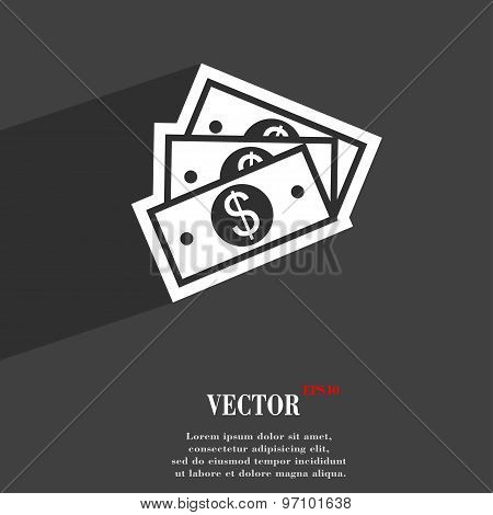 U.s Dollar Icon Symbol Flat Modern Web Design With Long Shadow And Space For Your Text. Vector