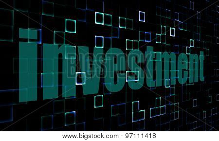 Pixelated Words Investment On Digital Background