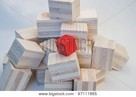 Heap of wooden cubes