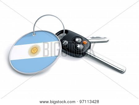 Car Keys With Argentina Flag As Keyring.