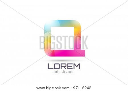 Vector logo template. Abstract arrow shape and symbol, icon or creative, idea, flow. Stock illustration. Isolated on white background.