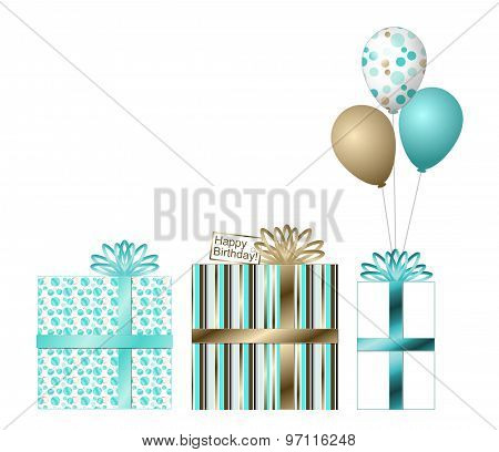 Gold and Teal Birthday Gifts