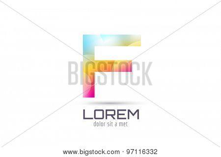 Vector F logo template. Abstract arrow shape and symbol, icon, text or creative, idea, flow. Stock illustration. Isolated on white background.