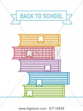 Linear books stack. Education, university, college and knowledge or book, back to school. Book vector.