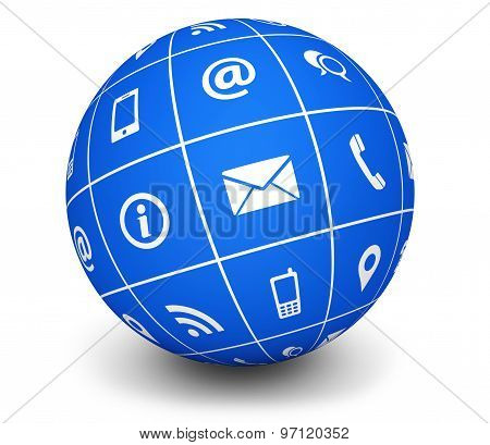 Contact Us Icons Blue Globe