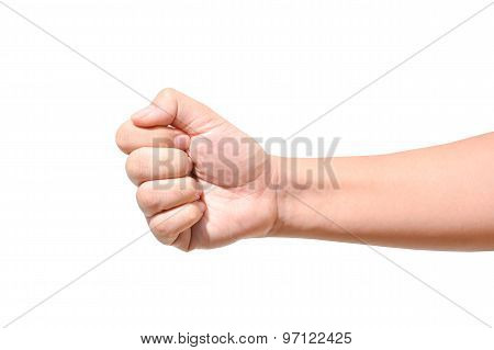Male Hand Sign Isolated On White Background