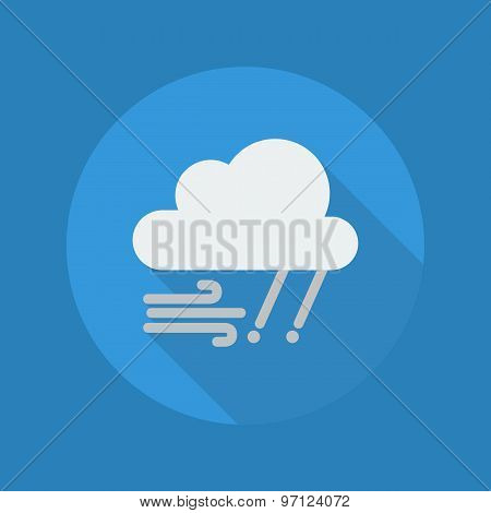 Weather Flat Icon With Long Shadow. Rainy and Windy poster
