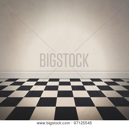 A black and white retro checkered old floor and a blank white textured wall. Add your own text message to the empty area.