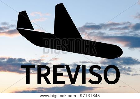 Airplane landing on Treviso airport
