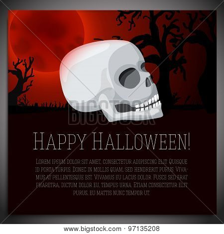 Big halloween banner with white human skull, on the red moony background. Vector