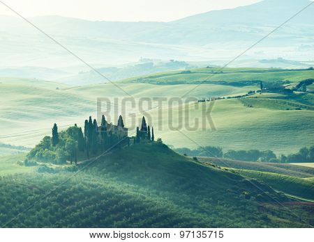 Early spring morning in Tuscany, Italy poster