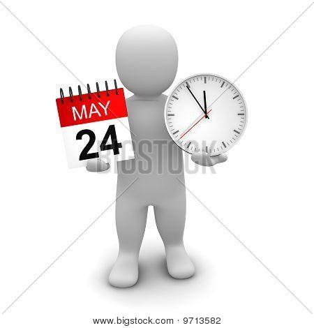 Man holding clock and calendar