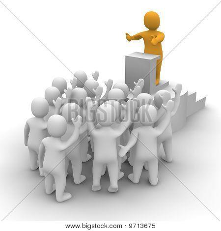 Leader speaking to audience