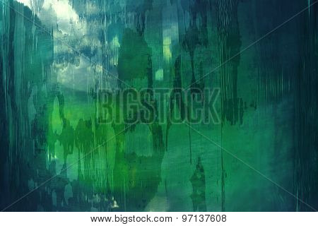 Abstract pattern in green and blue