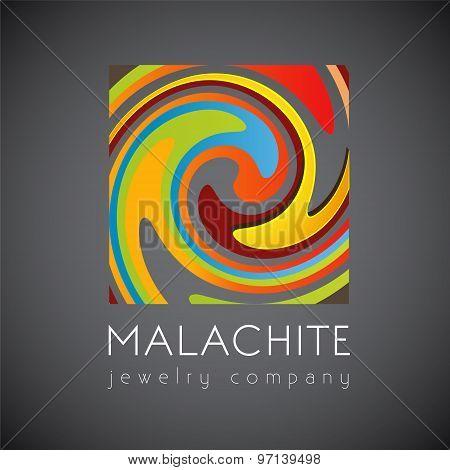 Vector logo template, abstract logo, malachite, jewelry shop, squared logo