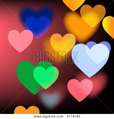 Helle Vektor Hintergrund mit Herzen