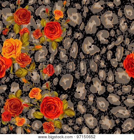 Dark leopard skin and orange roses seamless pattern. Animal and floral background.