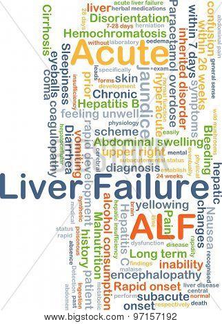 Background concept wordcloud illustration of acute liver failure ALF