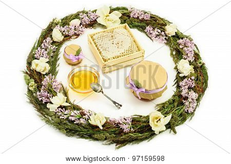 Honey, Herbs And Flowers On White Background.