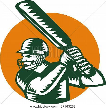 Cricket Player Batsman Batting Circle Woodcut