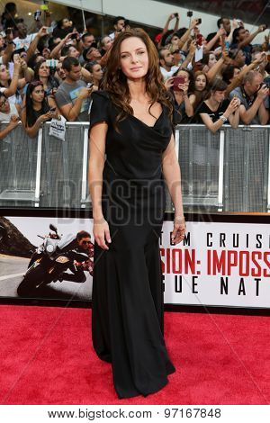 NEW YORK-JUL 27: Actress Rebecca Ferguson attends the US Premiere of 'Mission: Impossible - Rogue Nation' in Times Square on July 27, 2015 in New York City.